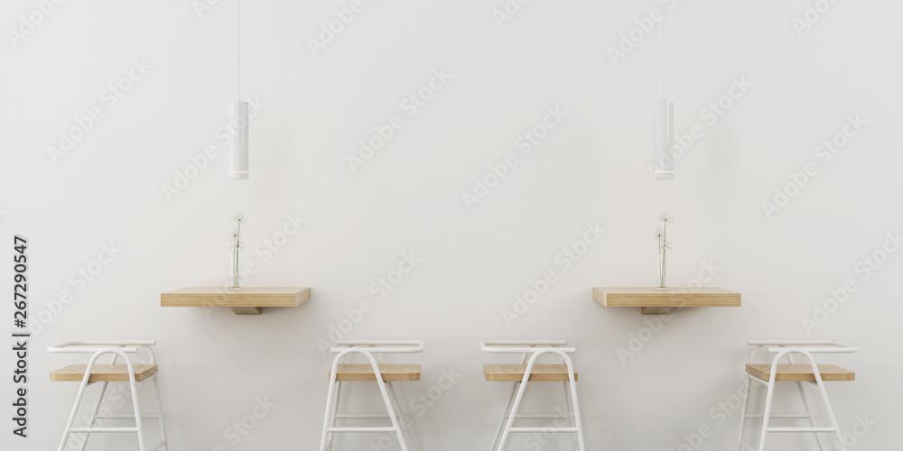 Kawiarnia wnętrza w białym kolorze z drewnianymi meblami
