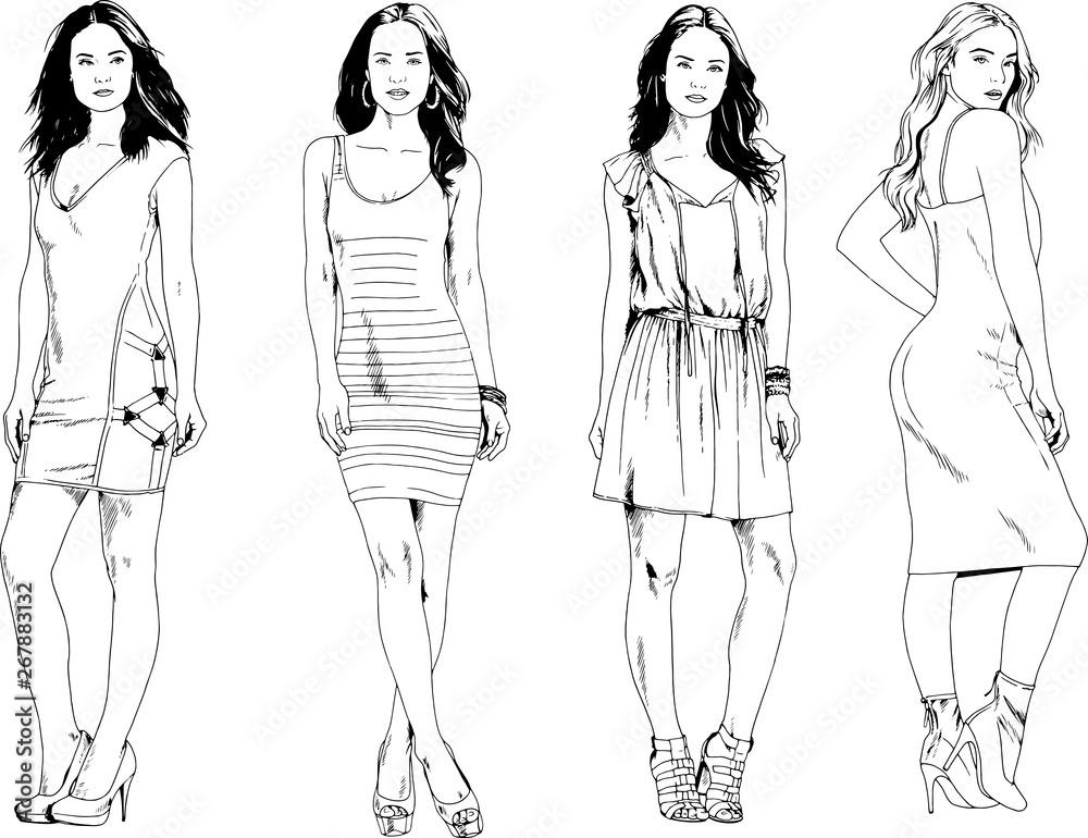 wektor zdjęcia na temat: piękna szczupła wysportowana dziewczyna w codziennym ubraniu, w różnych pozach rysowane szkic tuszem bez tła