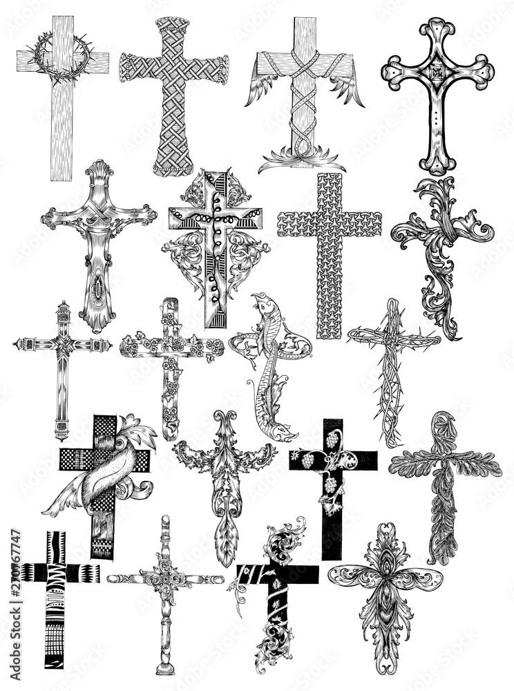 Ręcznie rysowane krzyż kolekcja wektor wzór