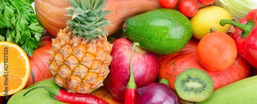 Tle kolekcja świeżych owoców i warzyw . Szeroki zdjęcie.