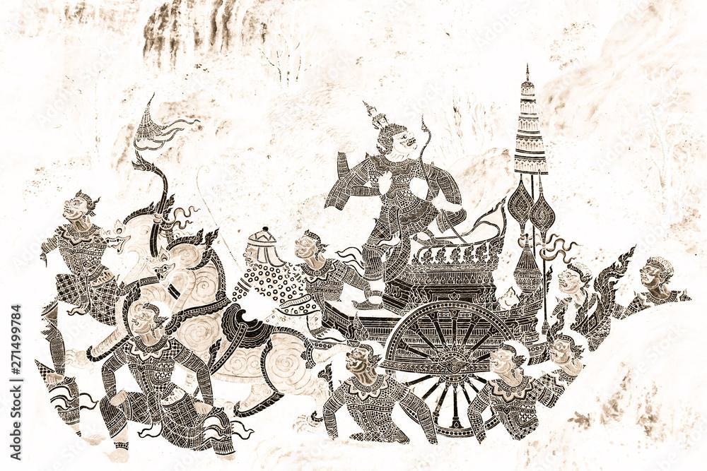 Рамакиен (Ramajana) malowanie ścian czarny i złoty na białej ścianie rysunek wzdłuż galerie tapety i sztuka tło