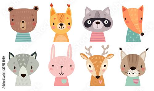 Śliczne twarze zwierząt. Ręcznie rysowane postacie.