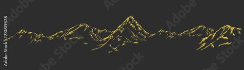 Styl z stylizowane, ręcznie rysowane górskie tło zestaw