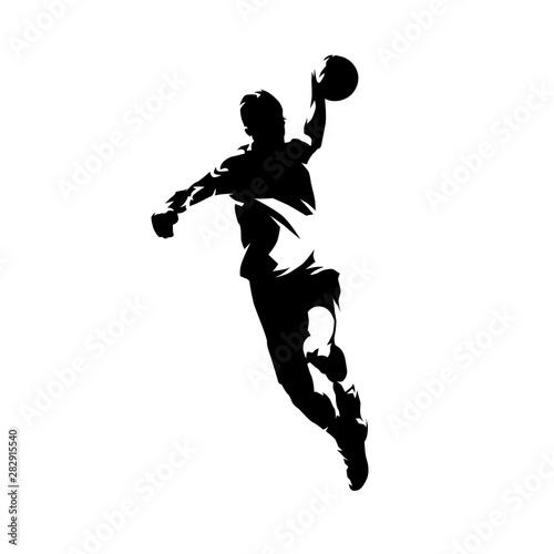 Piłka ręczna gracz rzuca piłkę i strzelił gola, tusz, rysunek, ilustracja na białym tle wektor sylwetka, z przodu