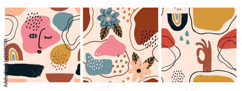 Ręcznie rysowane różne kształty i obiekty bazgroły. Zestaw trzech streszczenie nowoczesny, nowoczesny, modny wektor bez szwu wzorów. Idealnie nadaje się do drukowania materiałów włókienniczych. Każdy model ma na białym tle