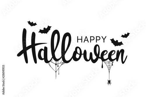 Szczęśliwy tło Halloween. Odręcznie kaligrafii z pajęczyn i nietoperzy dla karty z pozdrowieniami, plakatów, banerów, ulotek i zaproszeń. Szczęśliwy tekst Halloween, święto tło