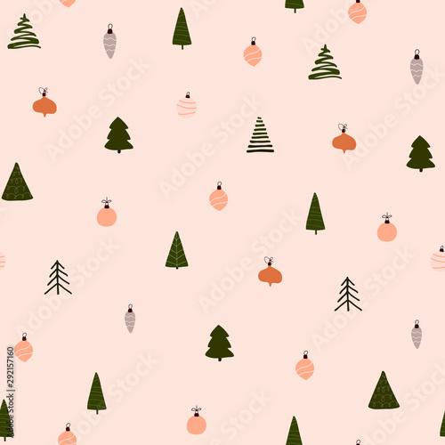Streszczenie modne boże Narodzenie, Nowy rok, zima wakacje wzór boże narodzenie drzewa kulki