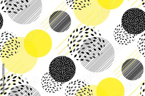 Okręgi streszczenie wektor bezszwowe tło wzór. Sztuka nowoczesny szablon punktami z jaskrawo-żółtymi skład elementów. Memphis. Minimalistyczny design, tapety, wzór geometryczny wzór. Wektor.