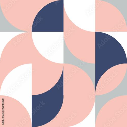 Nowoczesne wektor streszczenie geometryczny wzór z półkole i okręgu w retro stylu skandynawskim. Pastelowy brzoskwiniowy, biały, jasno-niebieski, ciemno-niebieski formy. Geometria minimalistyczny plakat