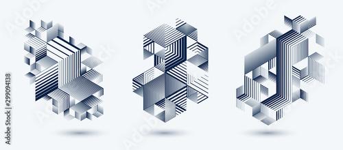 Liniowy paski streszczenie wektor trójwymiarowy 3D tła zestaw z obszaru styl retro element graficzny, kostki i trójkąty. Szablony plakatów lub banerów, grafiki lub reklamy.