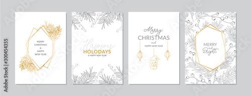 Złote i srebrne kartki świąteczne zestaw z ręcznie rysowane gałęzie drzew i owoców. Szkice ilustracji wektorowych, A6 Dean
