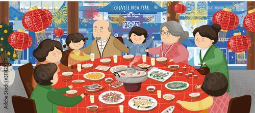 Szczęśliwy Chiński Nowy Rok 2020. Azjatycka rodzina (matka, ojciec, babcia, dziadek i dzieci) siedzi przy stole i świętuje święto. Ilustracja wektorowa tła, karty lub banery.