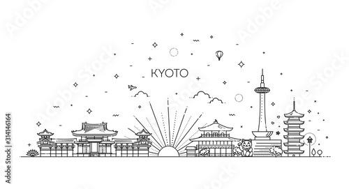 Ikony Kioto odpocząć. Wektor zestaw ikon