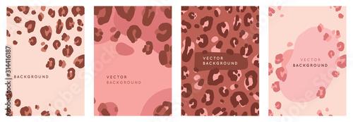 Wektor zestaw streszczenie kreatywnych tła w minimalny modnym stylu z miejsca kopiowania tekstu z leopard print - szablony projektów do historii social media