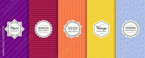 Paski bez szwu wzorów zestawu. Kolekcja wektor kolorowe tło geometryczne wzory nowoczesne etykiety. Minimalistyczne tekstury z liniami paskami. Fioletowy, bordowy, pomarańczowy, żółty i niebieski projekt