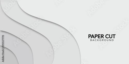 Biały streszczenie tło z papieru wytnij styl. Projekt transparent wektor.