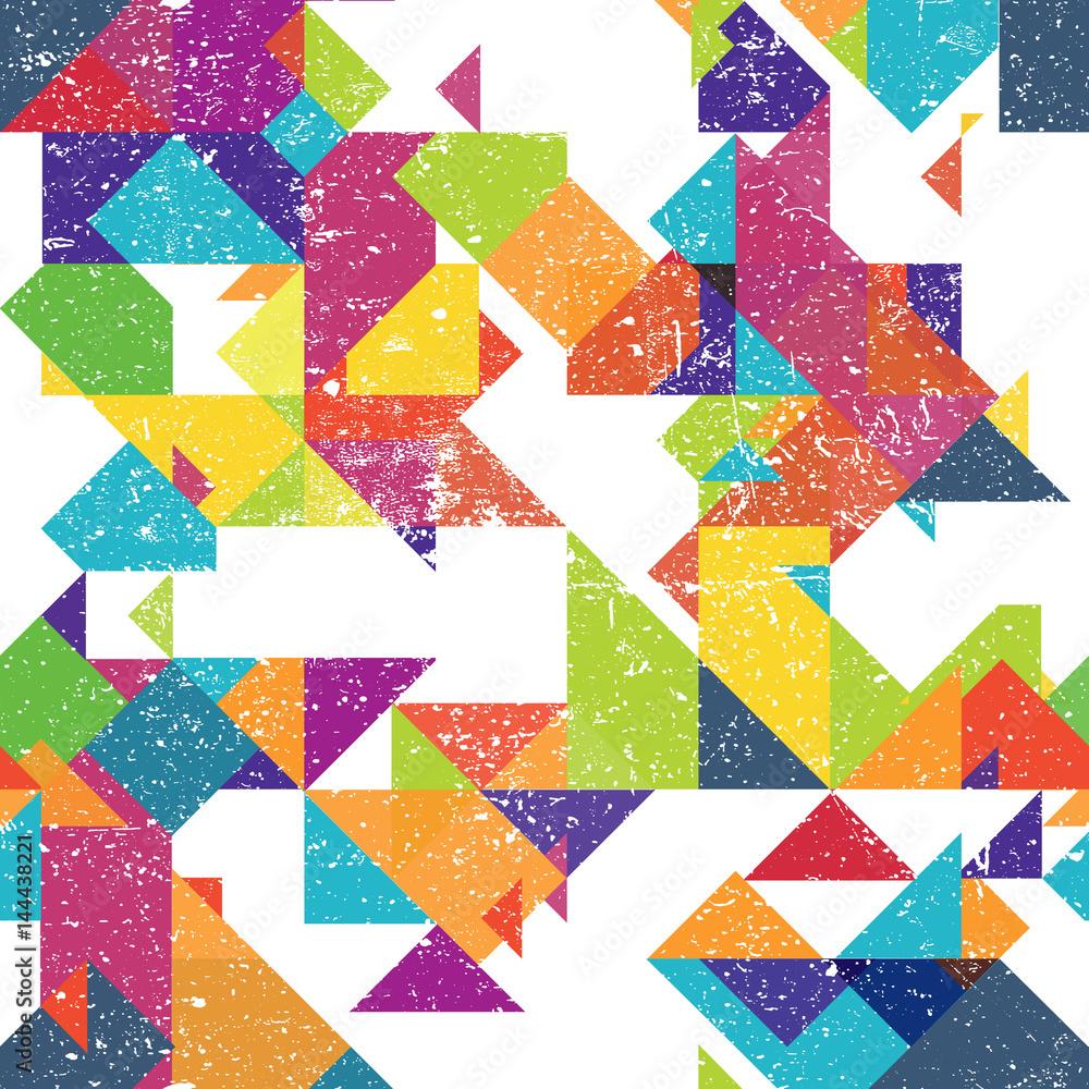 Streszczenie geometryczne bezszwowe tło. Wektor grunge teksturowanej wieku wzór.