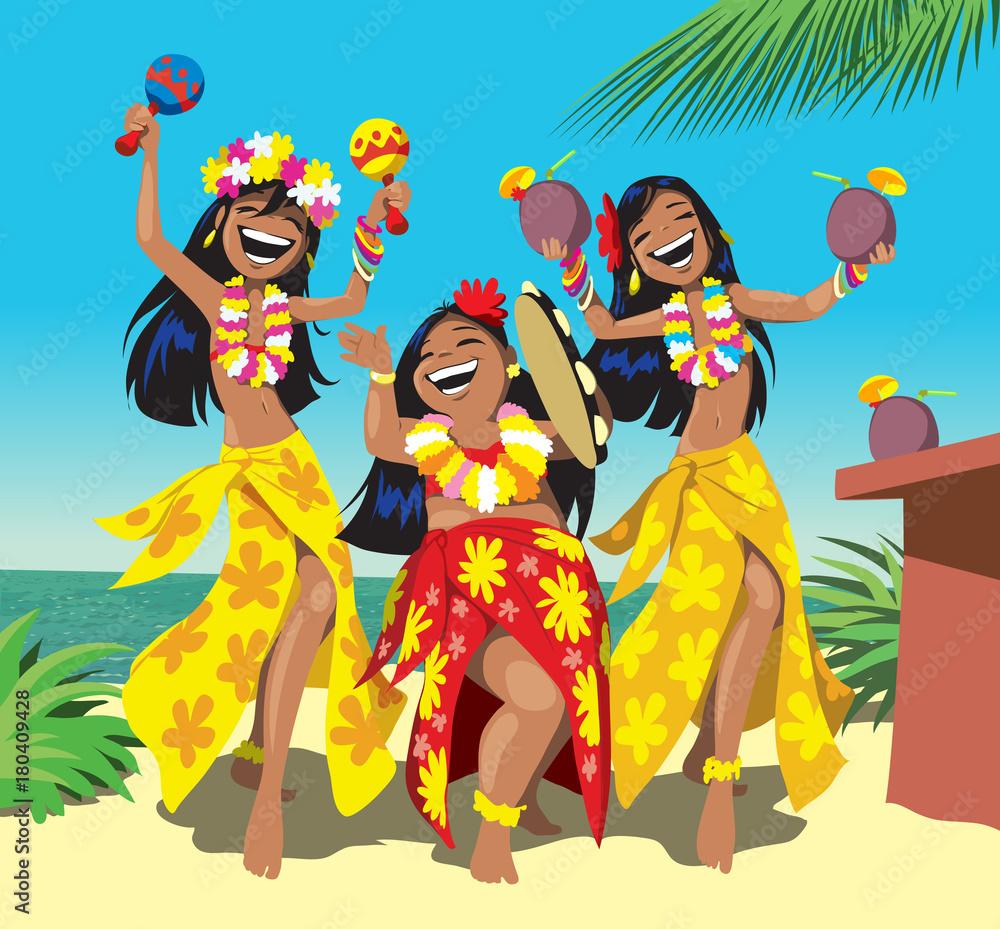 Impreza hawaje. Trzy młode dziewczyny hula tańce na plaży z drinkiem. Kreskówka ilustracji wektorowych