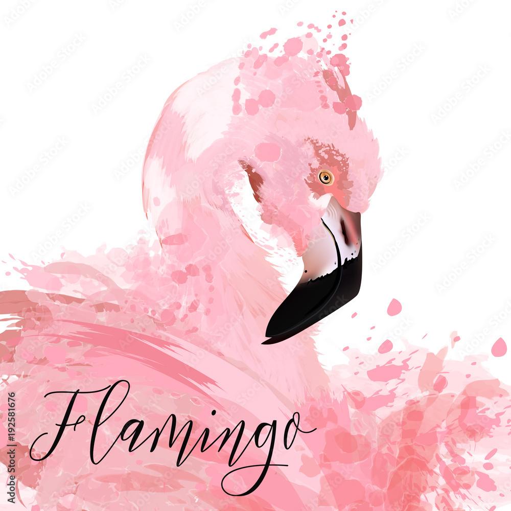 Piękne ilustracje z różowym płonący rysowane ilustracji plamy farby