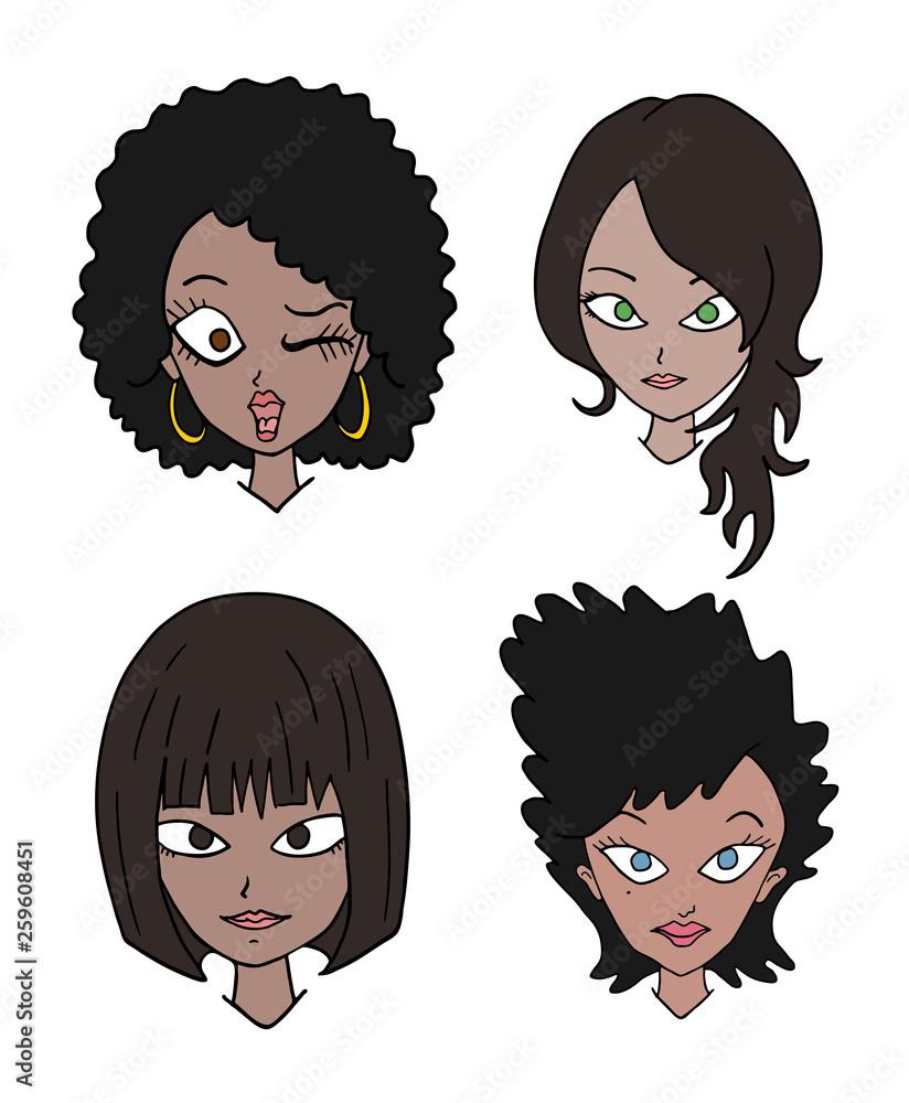 zestaw czterech kobiet twarzy