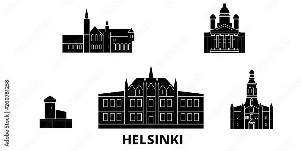 Finlandia, Helsinki płaskim podróży krajobraz zestaw. Finlandia, Helsinki