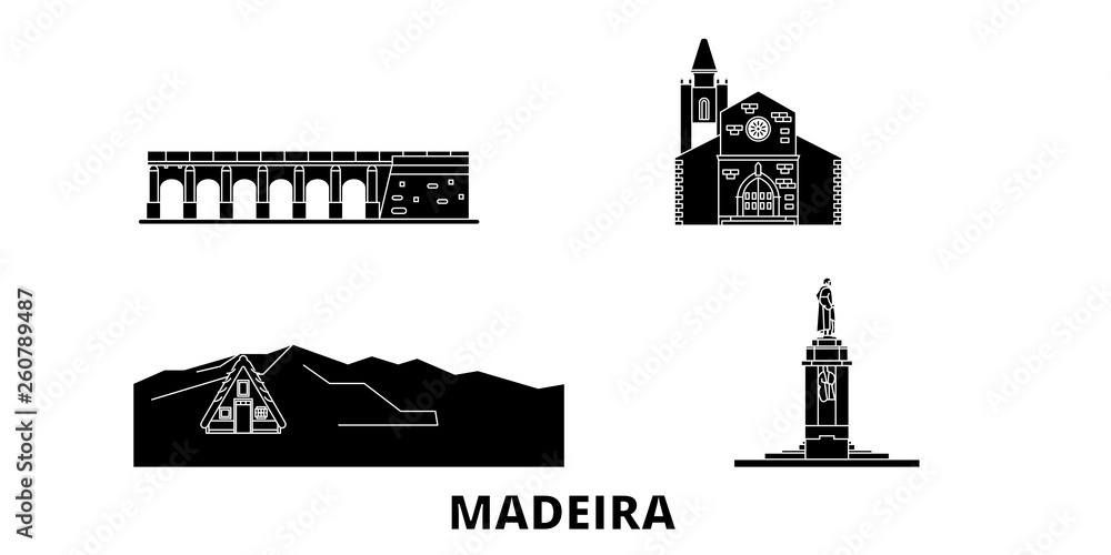 Portugalia, Madera płaskim podróży krajobraz zestaw. Portugalia, Madera Czarny miasto wektor panorama, ilustracja, atrakcje turystyczne, zabytki, ulice.