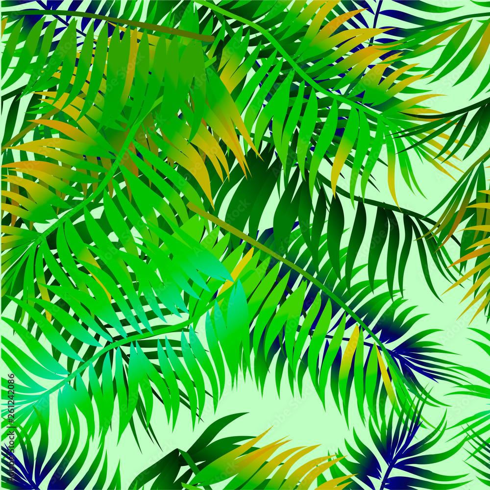 Bezszwowe tło z liści palmowych