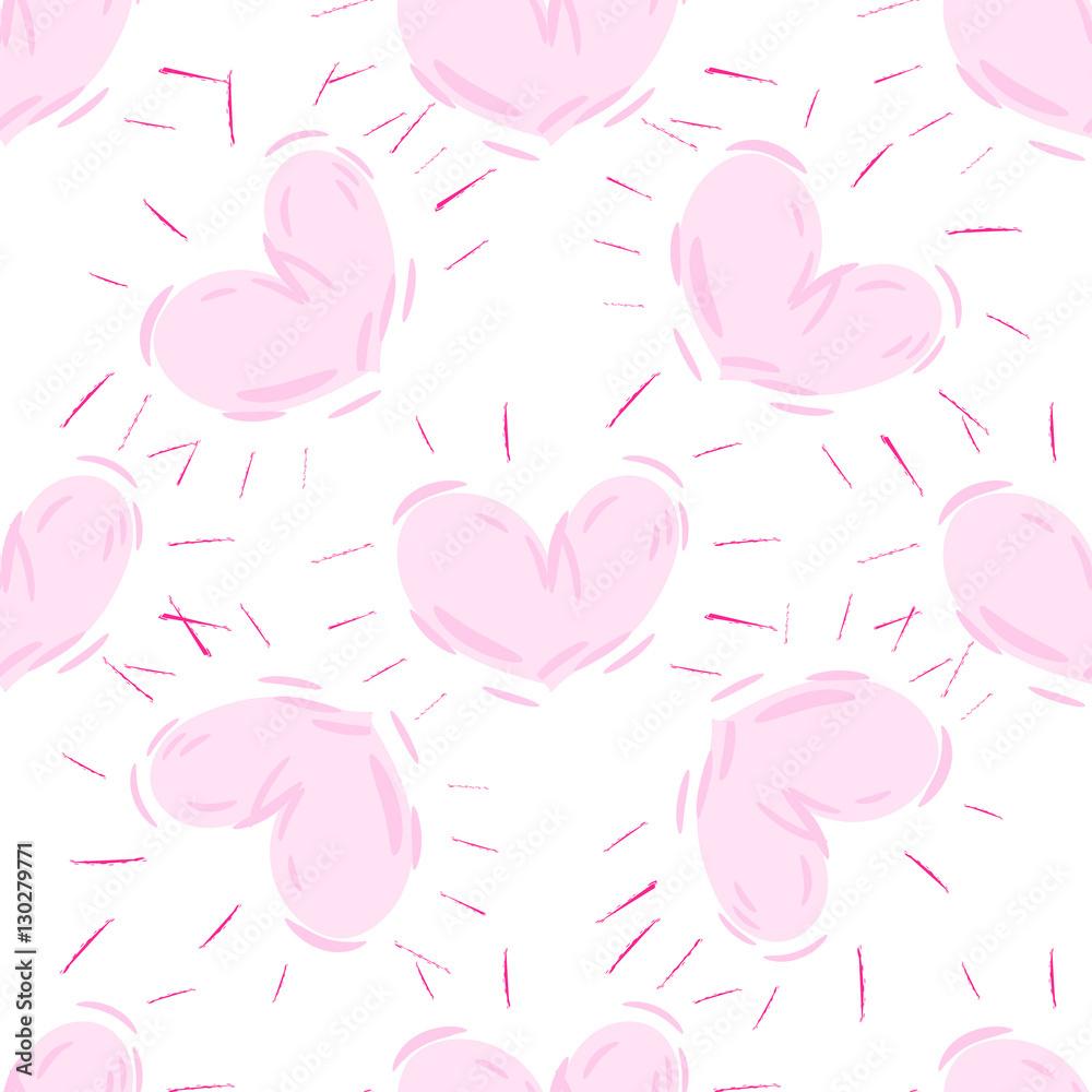 Bezszwowe ręcznie rysowane wzór serca. Wektor powtarzające się tekstury.