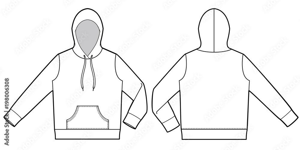 Bluza z kapturem moda wzór płaskiego rysowania