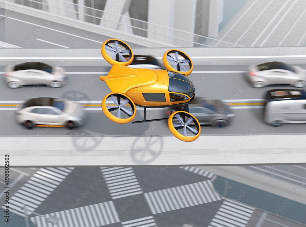 Żółty pasażerski samolot bezzałogowy przeleciał nad samochody w ciężkiej korku. Koncepcję drona taksówki. 3D renderowania obrazu.