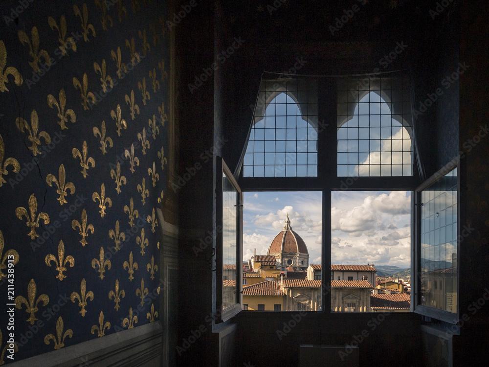 Widok na kopułę katedry z wyposażenie pokoju w Palazzo Vecchio we Florencji, Włochy