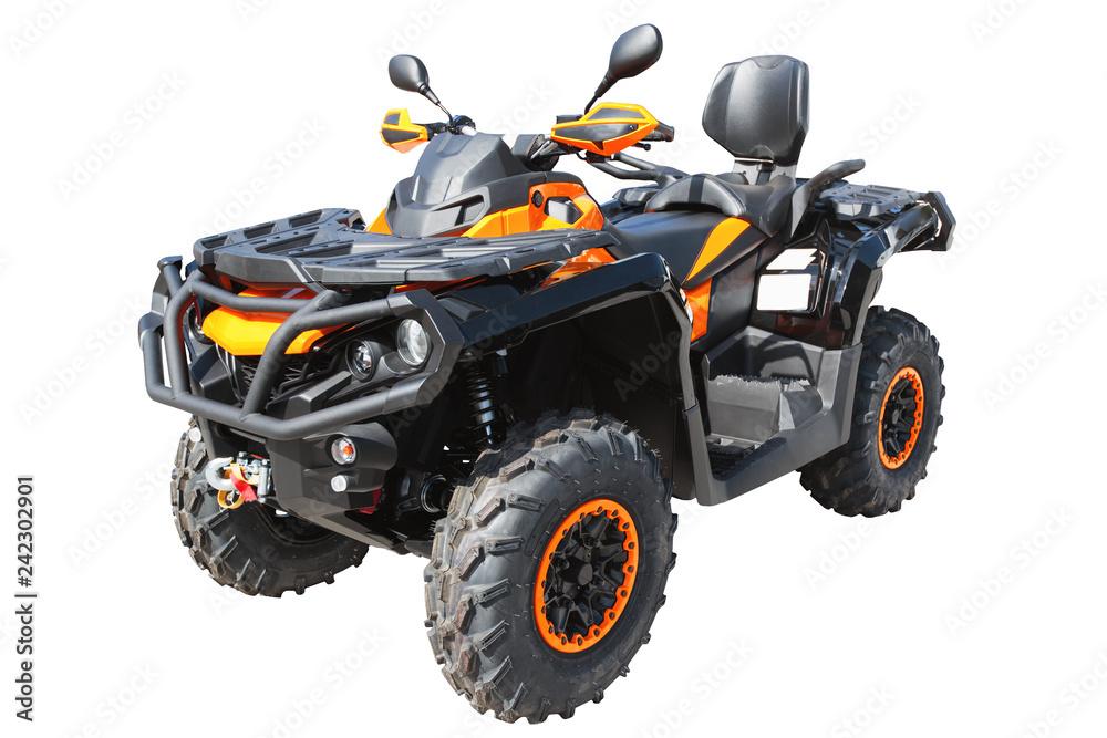 ATV quad lub buggy samochód, na białym tle na białym tle ze ścieżką przycinającą.