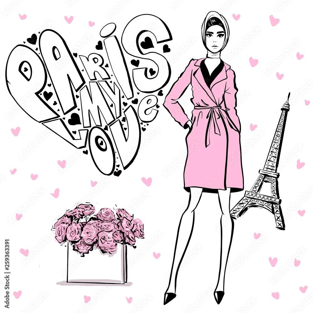 Piękna kobieta w stylu retro w Paryżu . rocznika sukienki z lat sześćdziesiątych.