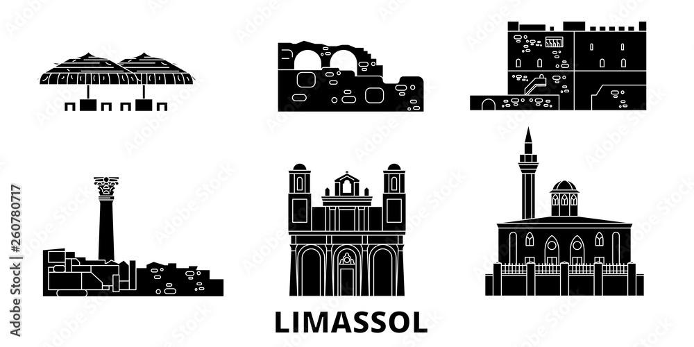 Cypr, Limassol mieszkanie w podróży krajobraz zestaw. Cypr, Limassol Czarny miasto wektor panorama, ilustracja, Miejsca turystyczne, zabytki, ulice.