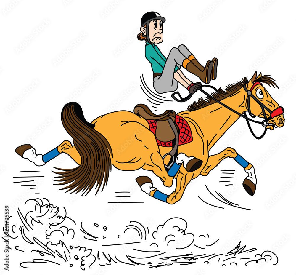 kreskówka jeździec na koniu . Dorosły człowiek siedzi na szybkie рысистых koniach i starają się balansować w siodle . Lekcja jazdy konnej . Widok z boku ilustracji wektorowych