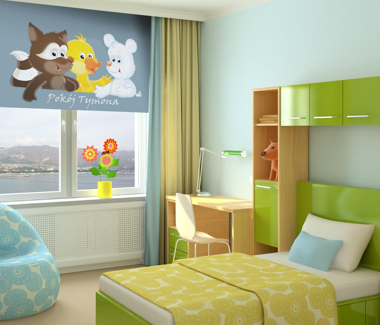 Roleta dla dzieci Bajkowe zwierzęta z imieniem dziecka