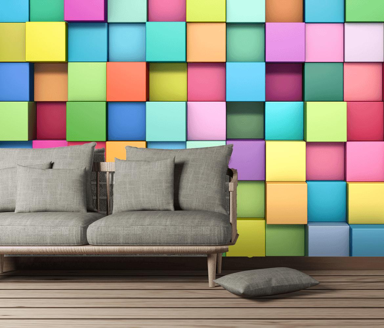Fototapeta 3D układanka/kwadraty do pokoju młodzieżowego