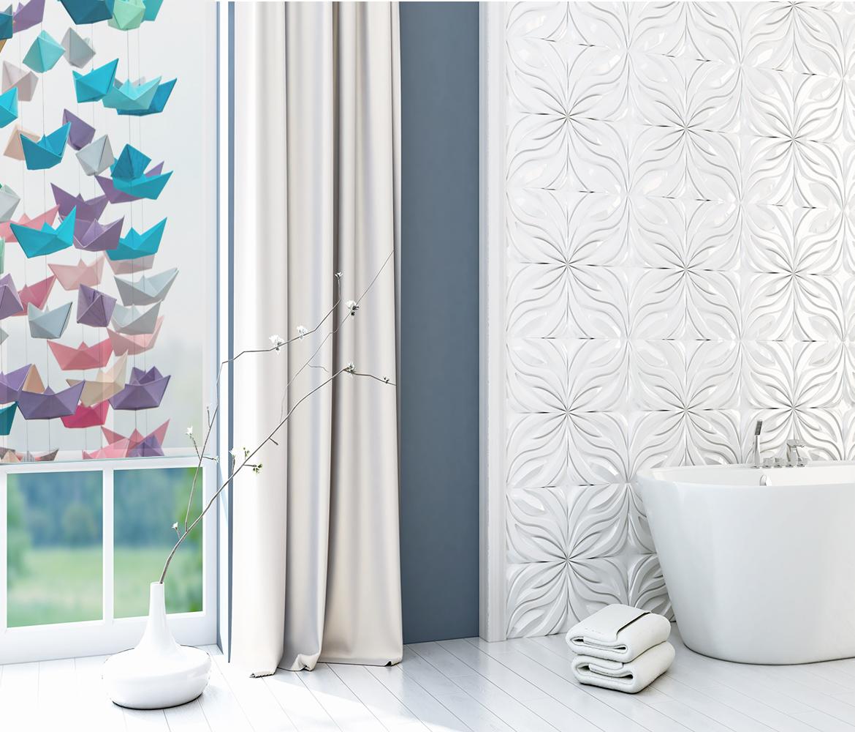 Fotoroleta do łazienki z nadrukiem origami.