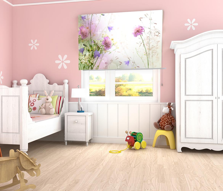 Fotoroleta do pokoju dziewczęcego z nadrukiem kwiatów