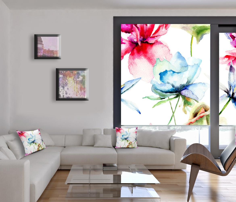 Roleta z kwiatami do sypialni i salonu, poduszki Kwiaty