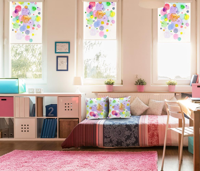Rolety  dla młodzieży z kolorowym nadrukiem, foto poduszki