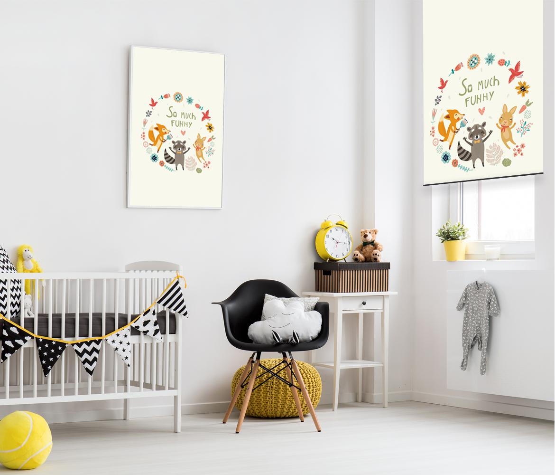 Roleta do pokoju dziecięcego zwierzęta, Lisek, szop, zając