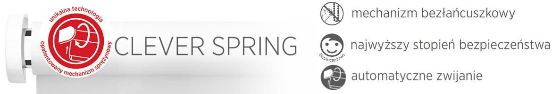Clever Spring - mechanizm bezłańcuszkowy, najwyższy stopień bezpieczeństwa, automatyczne zwijanie